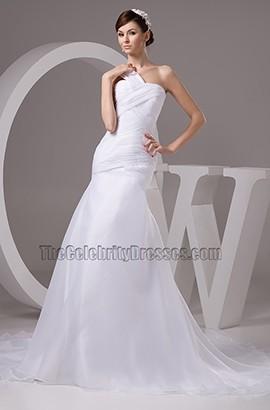 Trumpet Mermaid One Shoulder Chapel Train Wedding Dresses