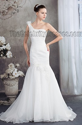 Trumpet /Mermaid One Shoulder Chapel Train Wedding Dress
