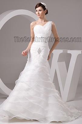 Trumpet/Mermaid One Shoulder Organza Chapel Train Wedding Dresses