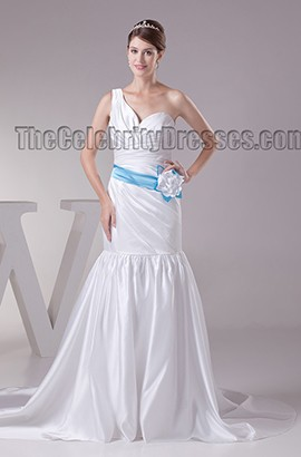 Trumpet /Mermaid One Shoulder Silk Like Satin Chapel Train Wedding Dress
