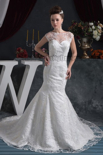 Trumpet/Mermaid Sleeveless Lace Chapel Train Wedding Dress