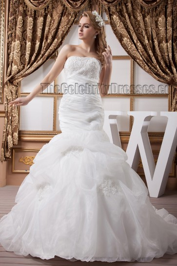 Trumpet/Mermaid Strapless Beaded Chapel Train Wedding Dresses