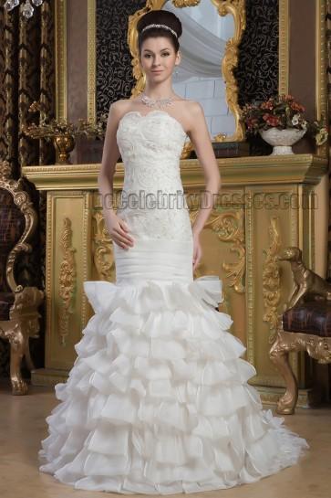 Trumpet/Mermaid Strapless Beaded Sweep Brush Train Wedding Dres