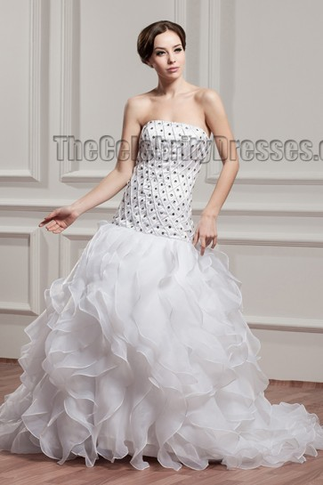 Trumpet /Mermaid Strapless Beaded Sweep/Brush Train Wedding Dress