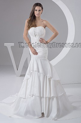 Trumpet /Mermaid Strapless Chapel Train Taffeta Wedding Dress