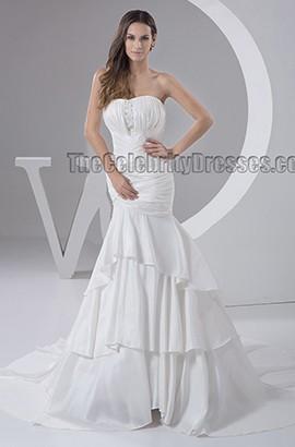 Trumpet /Mermaid Strapless Chapel Train Taffeta Wedding Dress