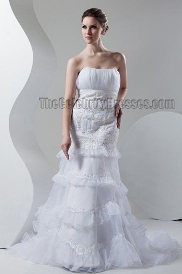 Trumpet/Mermaid Strapless Embroidered Wedding Dresses