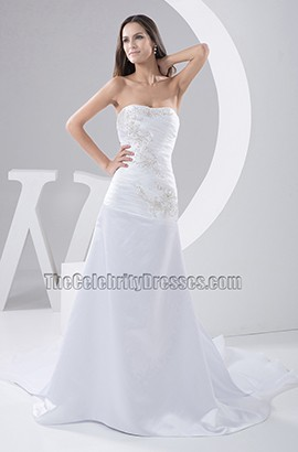 Trumpet Mermaid Strapless Embroidery Chapel Train Wedding Dress