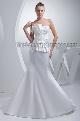 Elegant Trumpet /Mermaid Strapless Satin Wedding Dresses