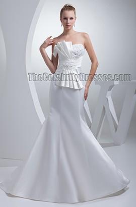 Elegant Trumpet /Mermaid Strapless Satin Wedding Dresses