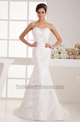Trumpet/Mermaid Strapless Sweep/Brush Train Wedding Dress