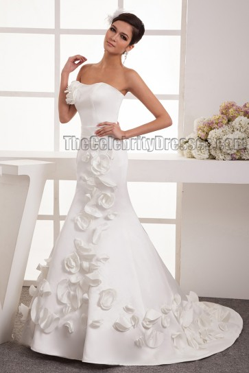 Trumpet/Mermaid Strapless Sweep Brush Train Wedding Dresses