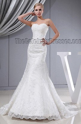 Trumpet/Mermaid Strapless Sweetheart Chapel Train Lace Wedding Dress