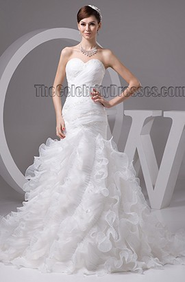 Trumpet/Mermaid Sweetheart Strapless Organza Lace Up Wedding Dress