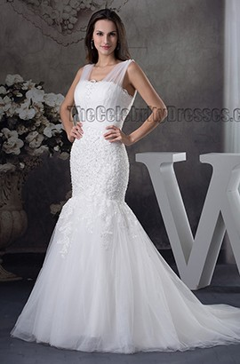 Trumpet /Mermaid Tulle Lace Up Embroidery Wedding Dress