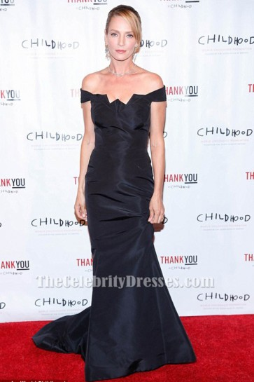 Uma Thurman Dark Navy Off-the-Shoulder Formal Dress World Childhood Foundation 16th Anniversary event TCD6351