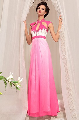 High Neck Gradient Formal Evening Dresses Prom Gown