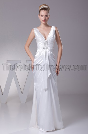 Sheath / Column V-Neck Floor Length Wedding Dresses