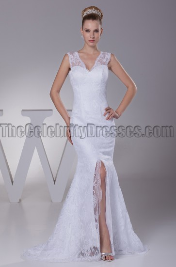 New Style V-Neck Lace Mermaid Wedding Dresses