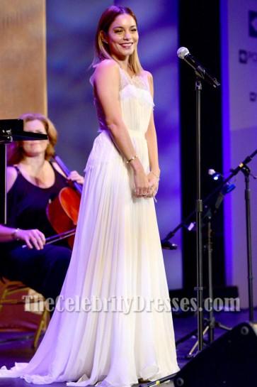 Vanessa Hudgens White Evening Prom Dress Point Foundation Voices TCD6816