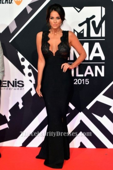 Vicky Pattison Sexy Black Evening Dress 2015 MTV EMAs Red Carpet TCD6373