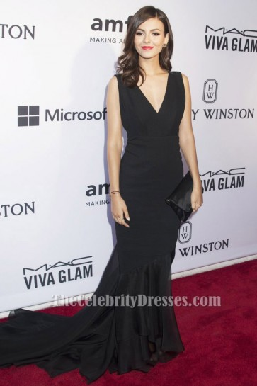 Victoria Justice Black V-Neck Formal Evening Dress 2015 amfAR Inspiration Gala Red Carpet TCD6203