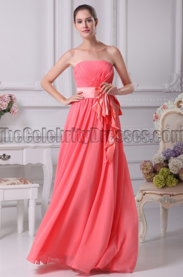 Water Melon Strapless Bridesmaid Prom Dresses
