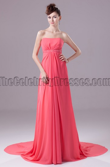 Watermelon Strapless A-Line Bridesmaid Prom Dresses