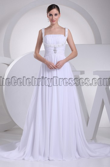 Discount White A-Line Chapel Train Informal Wedding Dresses