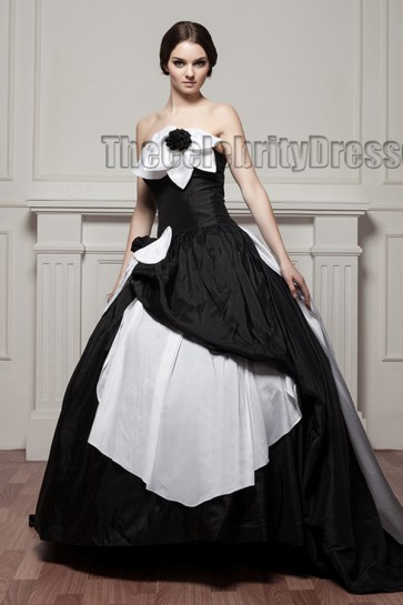 White And Black Strapless Ball Gown Wedding Dresses