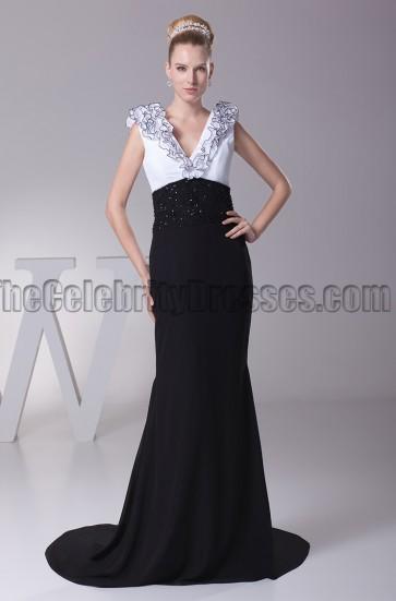 Elegant White And Black V-Neck Formal Dress Evening Gown