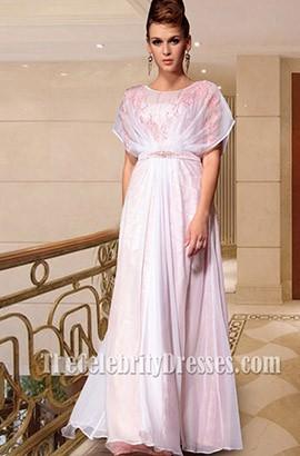 White Beaded Floor Length Formal Dresses Prom Gown