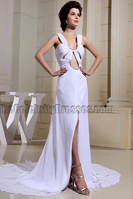 Sexy White Cut Out Evening Gowns Prom Dresses