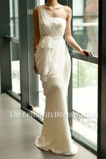 Sheath/Column Ivory Chiffon One Shoulder Evening Informal Wedding Dresses TCD6234