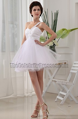 Gorgeous White Mini One Shoulder Party Dress Homecoming Dresses