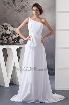 White One Shoulder A-Line Chiffon Chapel Train Wedding Dress