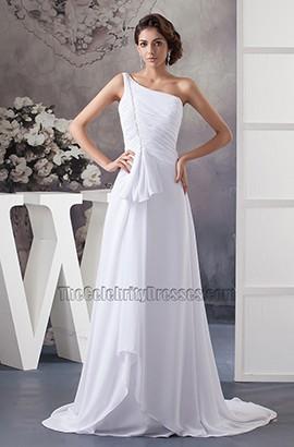 White One Shoulder A-Line Chiffon Chapel Train Wedding Dress