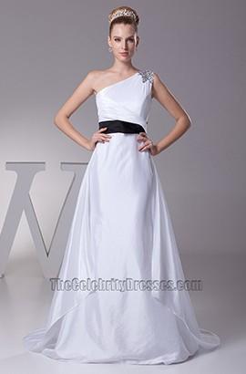 White One Shoulder A-Line Wedding Dress With Black Belt