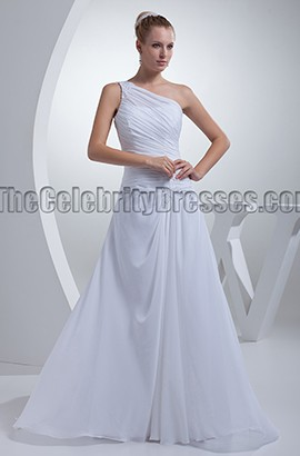 White One Shoulder Chiffon A-Line Wedding Dresses