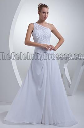 White One Shoulder Chiffon A-Line Wedding Dresses