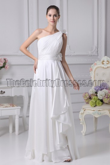 White One Shoulder Informal Wedding Dresses