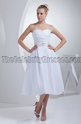 White Strapless A-Line Tea-Length Wedding Dresses