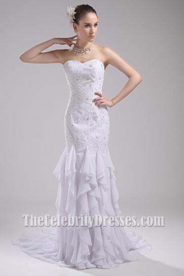 White Strapless Beaded Evening Gown Wedding Dresses