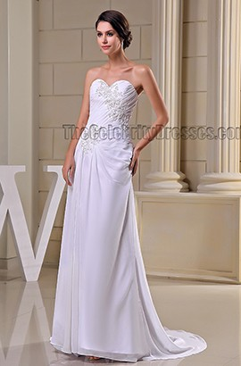 White Strapless Sweetheart Embroidered Formal Dress Evening Gown