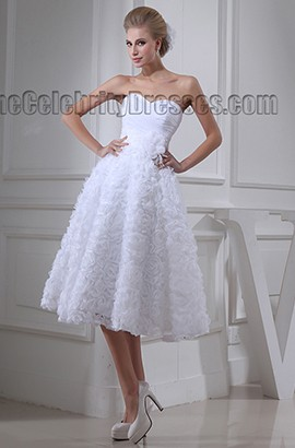 White Sweetheart Strapless Tea Length A-Line Cocktail Wedding Dress