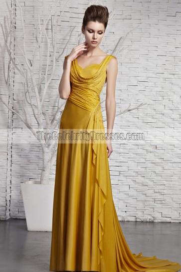 Yellow Drop Neckline Beaded Sweep/Brush Train Evening Dress