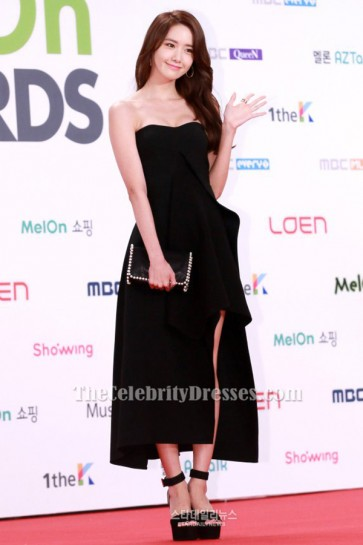 Yoona Black Strapless Prom Dress 2015 Melon Music Awards TCD6501