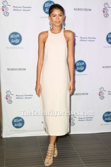 Zendaya Coleman Ivory Sleeveless Side Slit Party Evening Dresses TCD6355