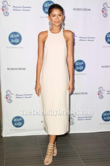 Zendaya Coleman Ivory Sleeveless Side Slit Party Evening Dresses TCD6355