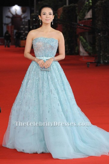 Zhang Ziyi Blue Beaded Formal Dress Rome Film Festival Love for Life Premiere